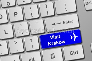 Visit Krakow keyboard button. Buy online tickets concept to Krakow. - Icons for your website