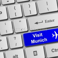 Visit Munich keyboard button. Buy online tickets concept to visit Munich - Icons for your website