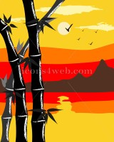 Bamboo vector. Mountain landscape with bamboo on foreground. - Buy Icons for your website