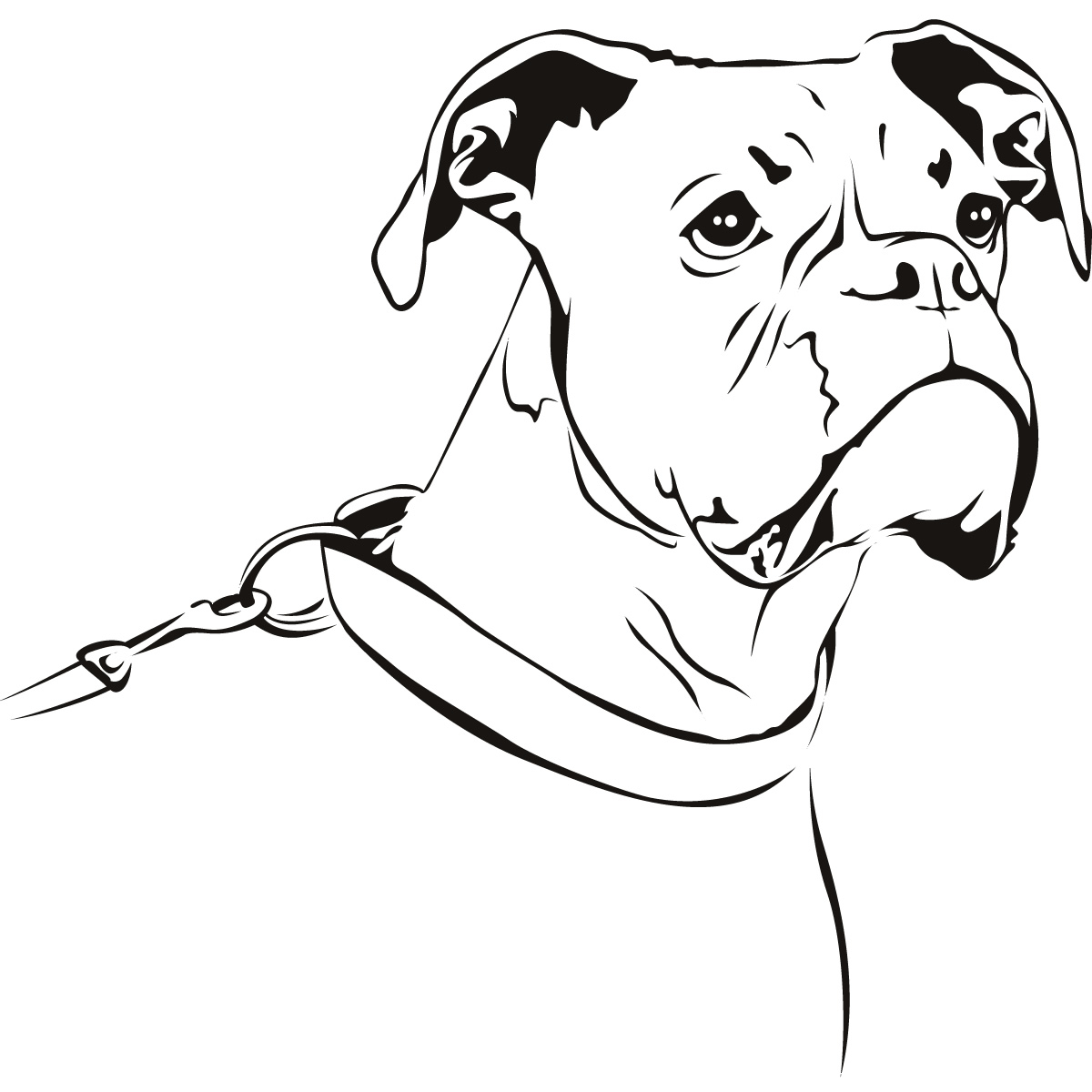 Outline Boxer Dog Animals Wall Art Stickers Wall Decal