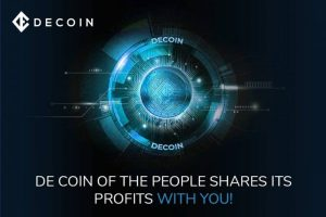 """decoin logo with the text """"de coin of the people shares its profits with you"""""""