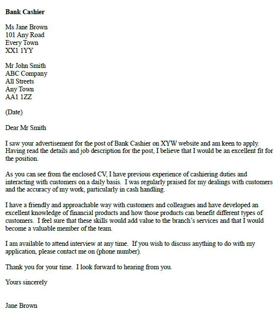 bank cashier cover letter example