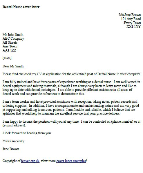 Dental Nurse Cover Letter Example Icover Org Uk