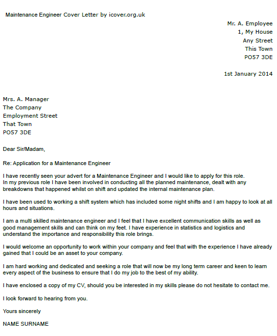 Maintenance Engineer Cover Letter Example Icover Org Uk