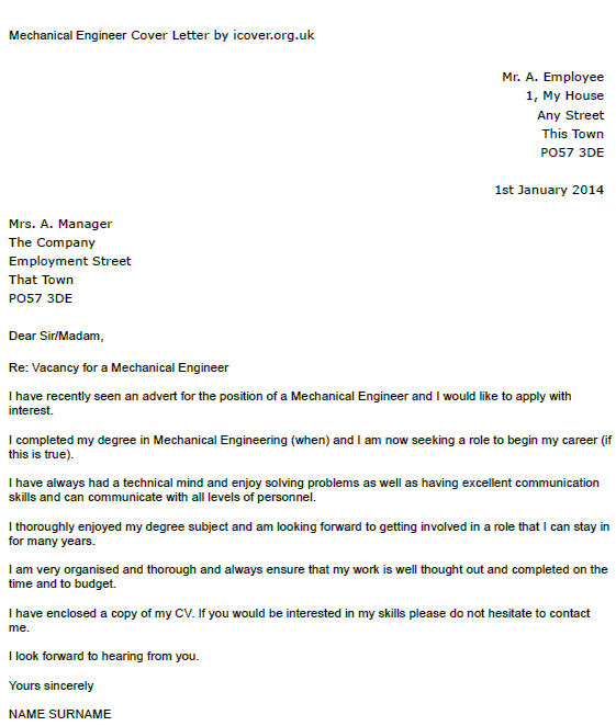mechanical engineer cover letter example mechanical engineer cover letter example icover org uk 23598 | Mechanical Engineer cover letter