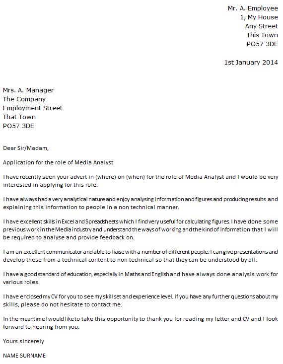Media Analyst Cover Letter Example