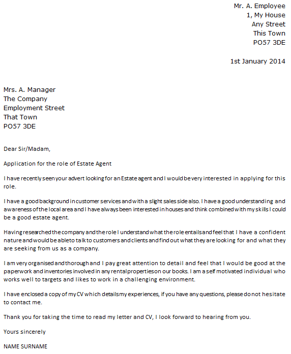 estate agent cover letter - Cover Letter To Company