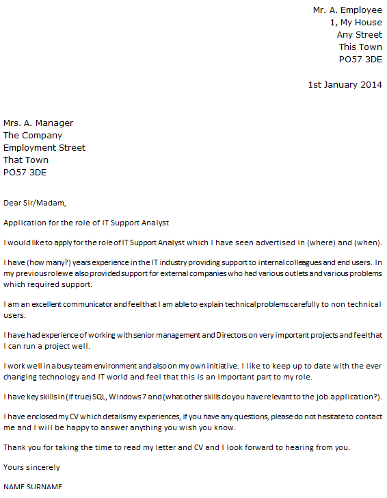 IT Support Analyst Cover Letter Example - icover.org.uk