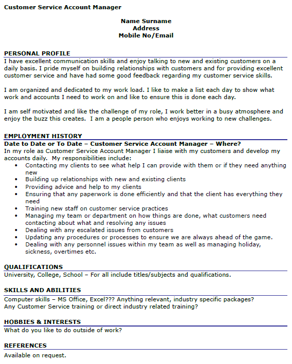 Customer Service Account Manager CV Example - icover.org.uk