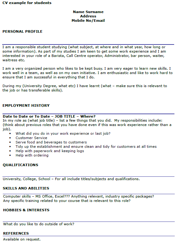 Student CV Example Template - icover.org.uk