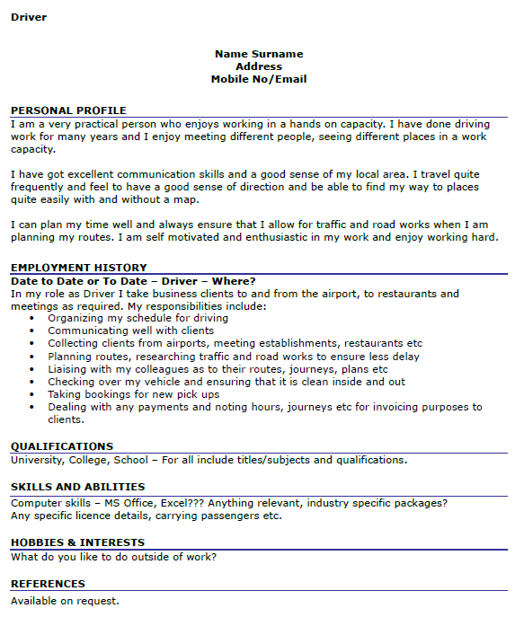 Driver CV Examples - icover.org.uk