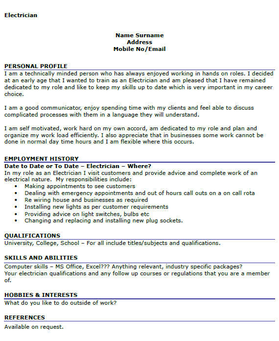 electrician resume samples sample resumes apprentice electrician
