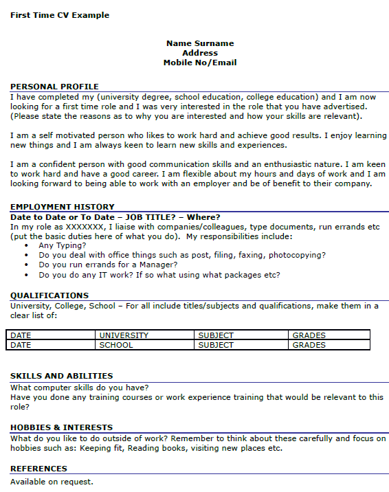 First Time Job CV Example - icover.org.uk