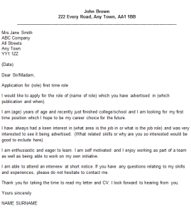 first time job cover letter