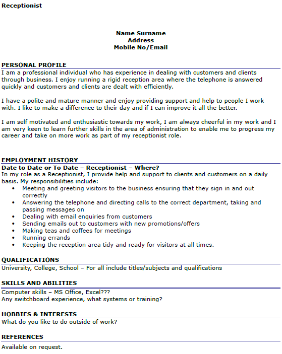 Receptionist CV Example - icover.org.uk