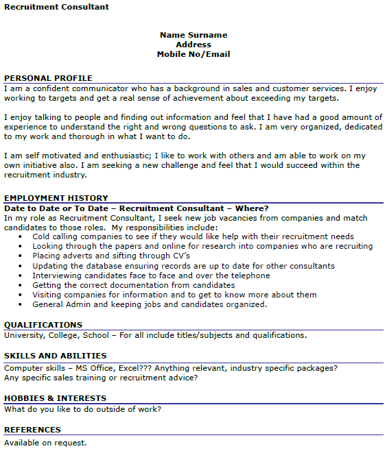 Recruitment Consultant CV Example