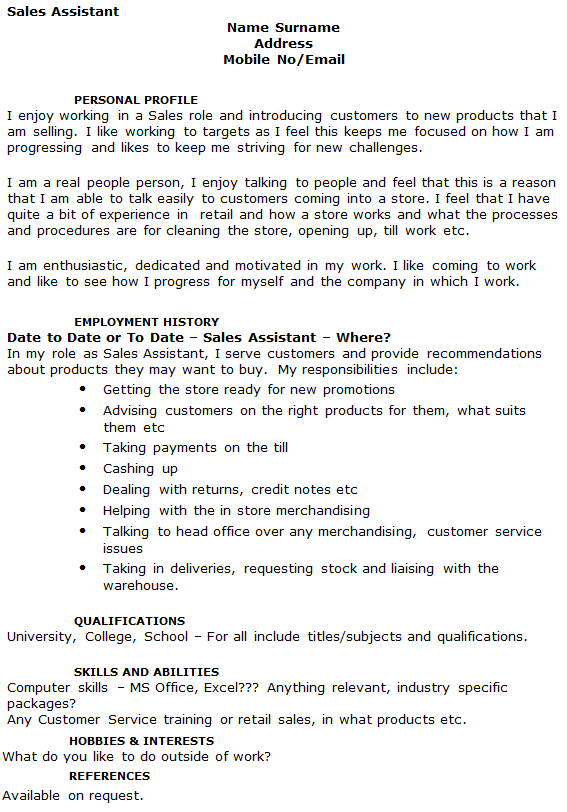 Sales Assistant CV Example - icover.org.uk