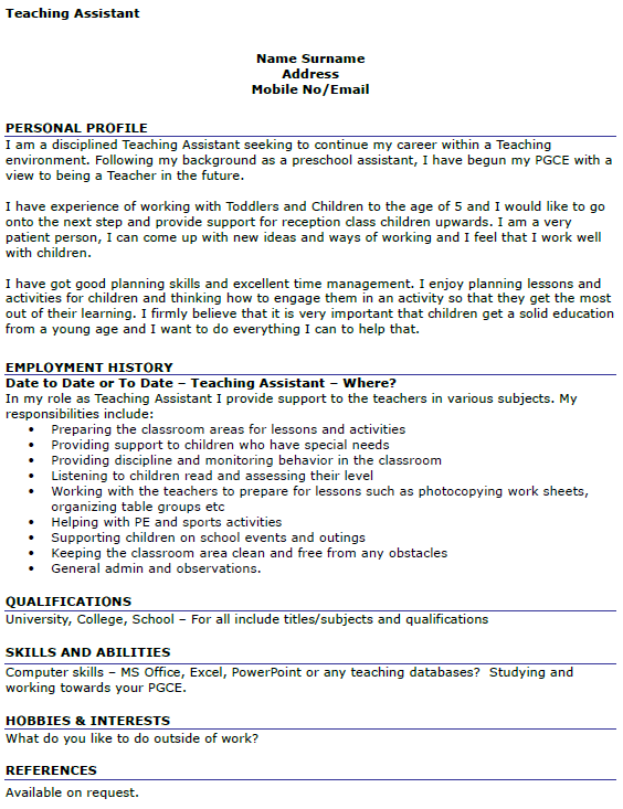 Teaching Assistant CV Example - icover.org.uk