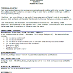 CV Example For a Part Time Job