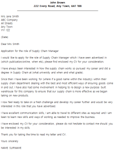 Supply Chain Manager Cover Letter Sample For