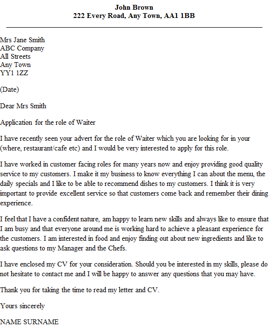 waiter cover letter example