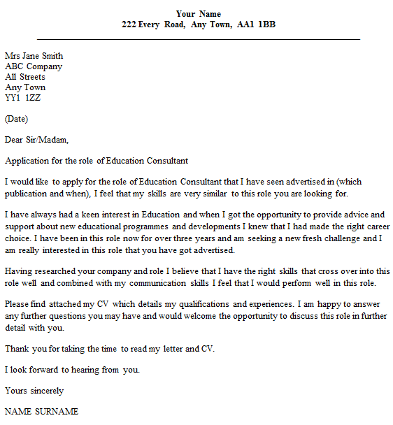 Education consultant cover letter example for Cover letter to consultant for job