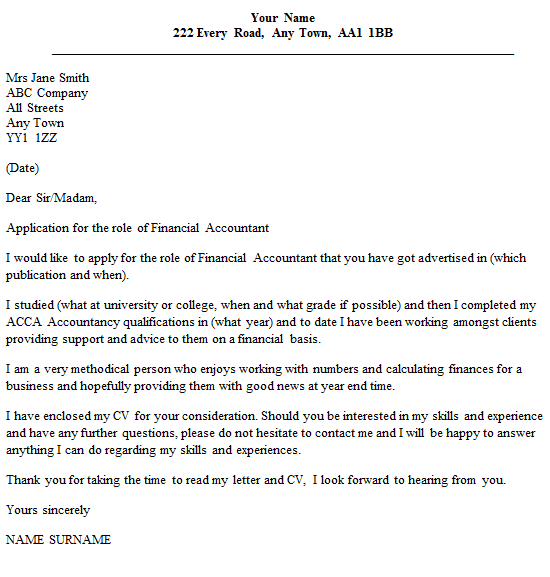 Financial accountant cover letter example for Covering letter for cv accountant