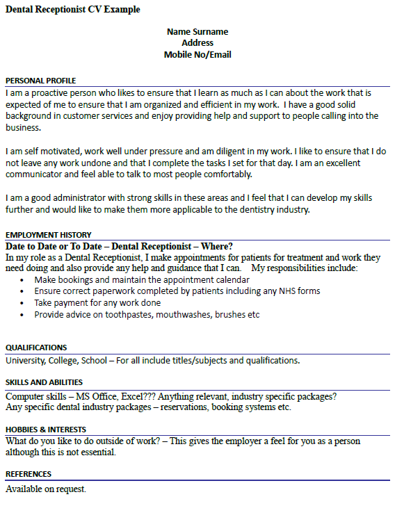 dental receptionist cv example