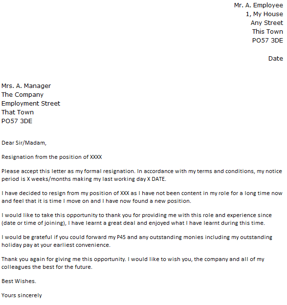 Unsatisfactory Work Circumstances Resignation Letter Example – Resignation Letter from a Position