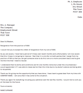 due to illness resignation letter