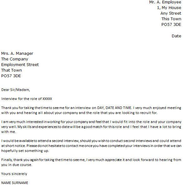 follow up letter requesting a second interview