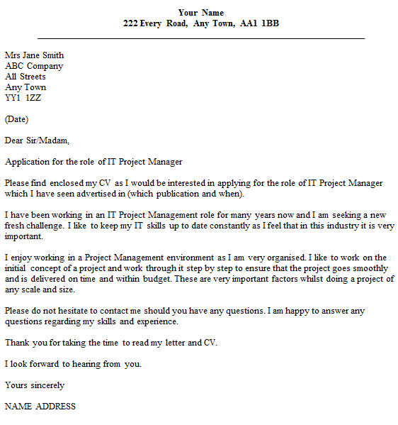 It project manager cover letter example for Cover letter for it director position