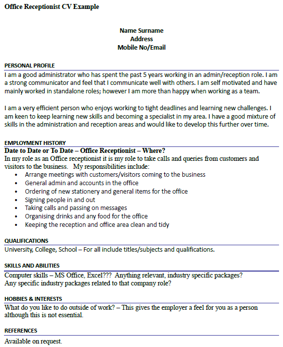 Office Receptionist CV Example - icover.org.uk