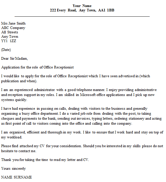 Office receptionist cover letter example for Cover letter for receptionist with little experience
