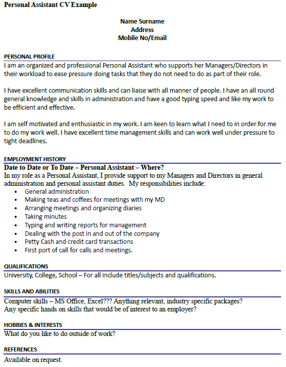 Personal assistant cv example for Cover letter for pa role