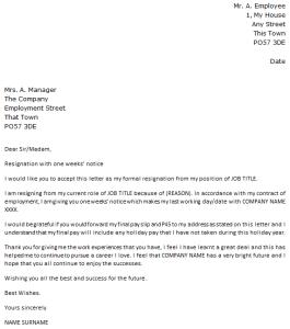 1 week notice resignation letter