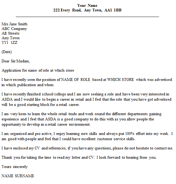 asda cover letter example - Retail Cover Letter Examples Uk