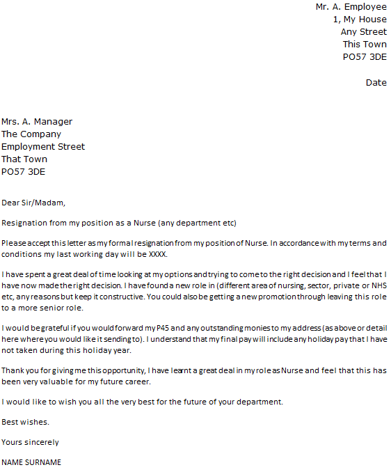 Nurse Resignation Letter Example icoverorguk – Letters of Resignation Nursing