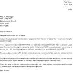 Waiter Resignation Letter Example
