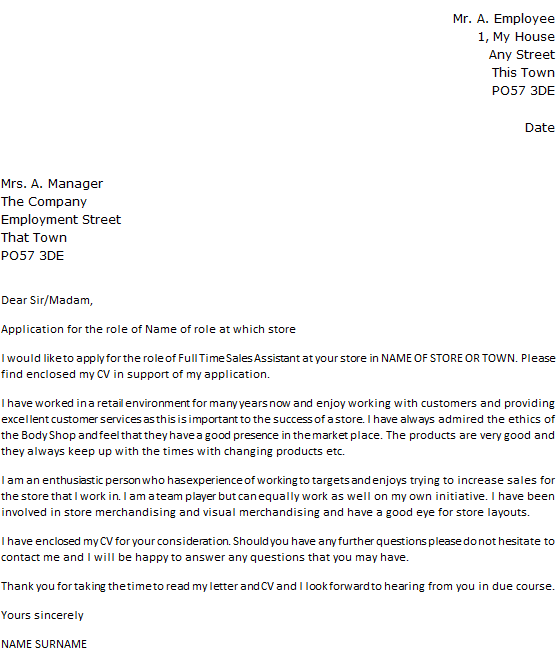 The Body Shop Cover Letter Example
