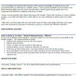 Medical Administrator CV Example