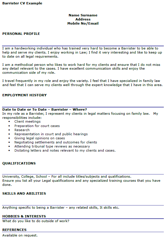 Barrister CV Example Uk