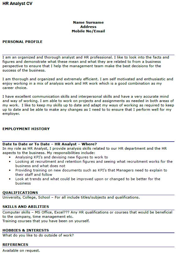 HR Analyst CV Example Uk