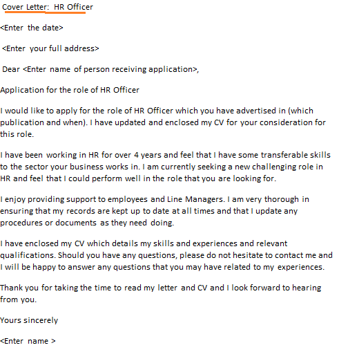 hr officer cover letter example