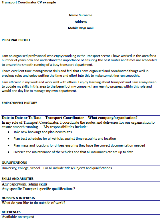 transport coordinator cv example