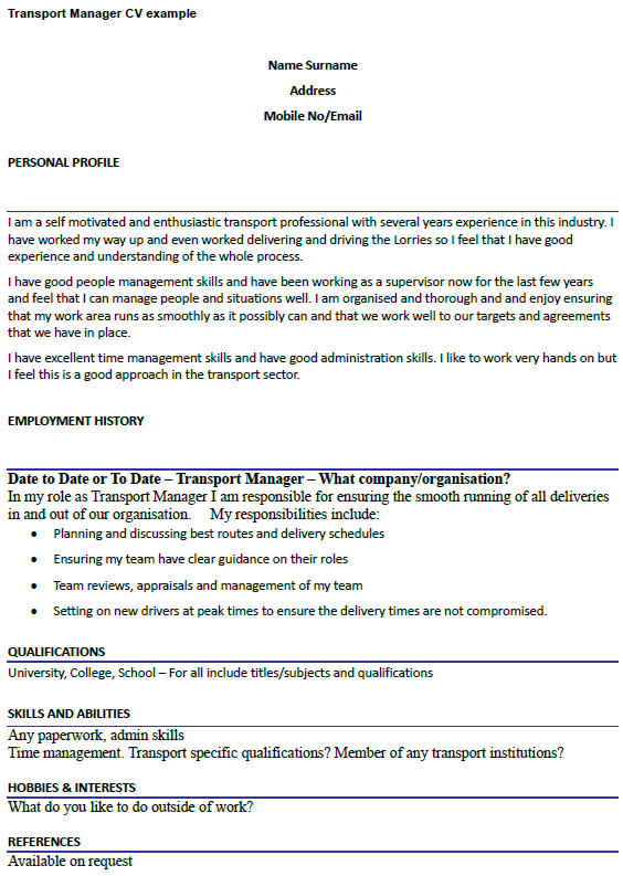 Cover Letter For Transportation Supervisor Position ...