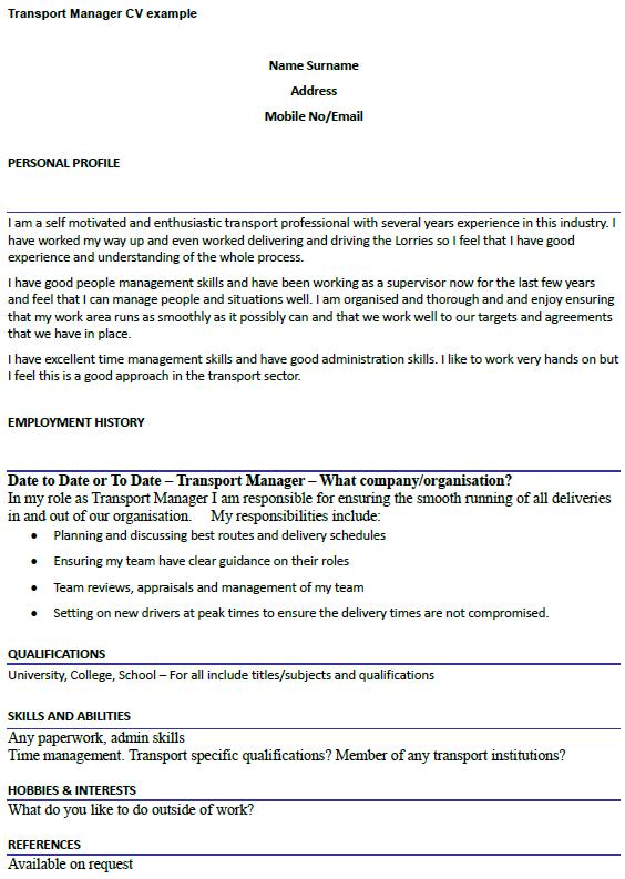 Transport Manager CV Example Uk