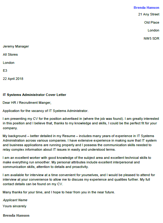 sample it administrator cover letter