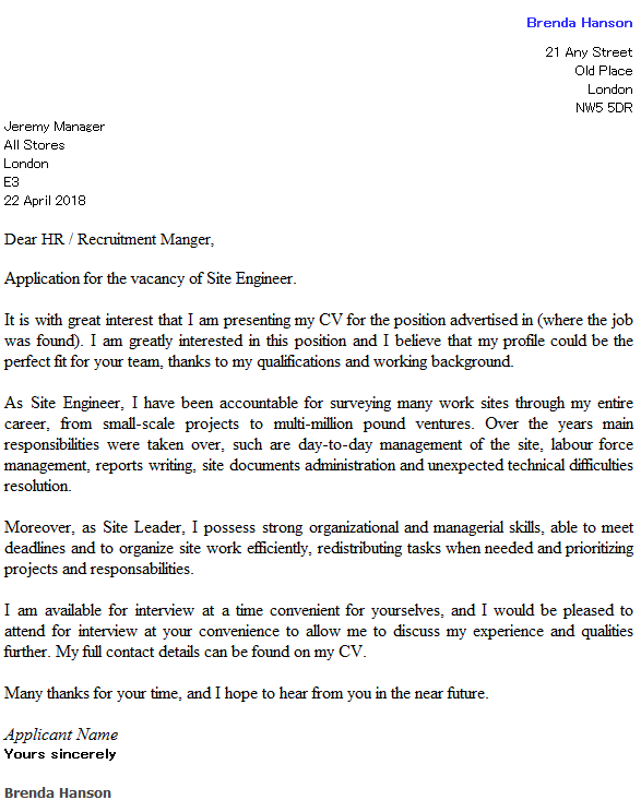 Site Engineer Cover Letter Example