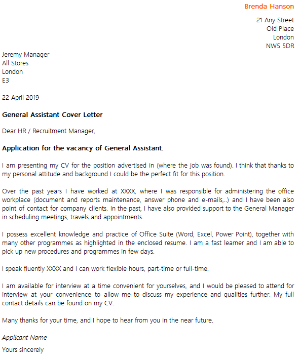 General assistant cover letter example for I am a fast learner cover letter